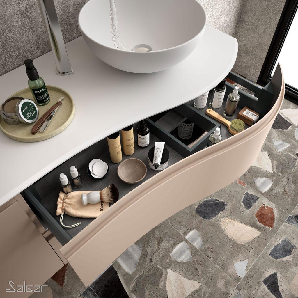 Muebles curvos para baño