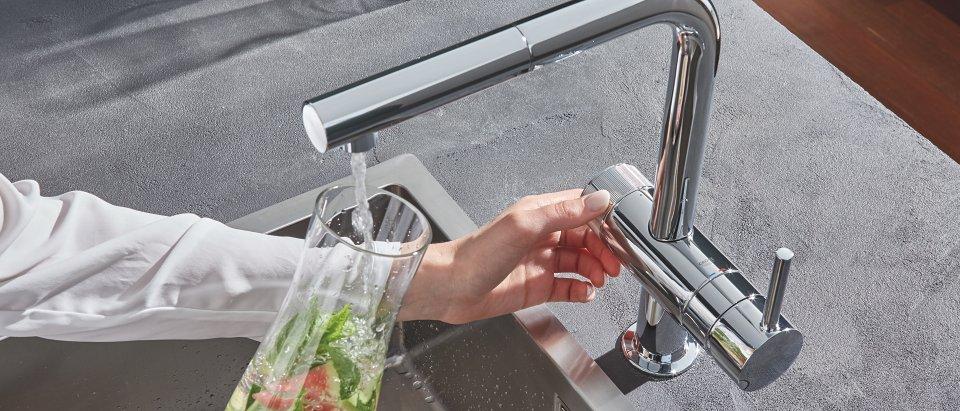 Grifos de cocina de 3 vías para sistemas de tratamiento del agua